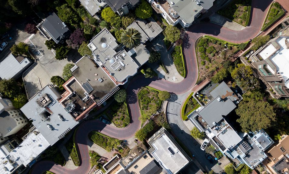 Cars usually line up to drive down the twists and turns of Lombard Street in San Francisco.